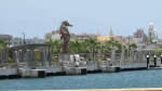 Back at the ship... seahorse statue on shore